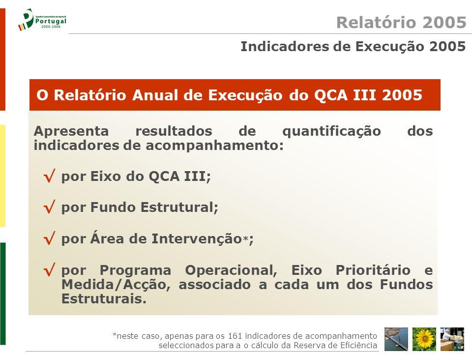 Relatório 2005 Apresenta resultados de quantificação dos indicadores de acompanhamento: √ por Eixo do QCA III; √ por Fundo Estrutural; √ por Área de Intervenção * ; √ por Programa Operacional, Eixo Prioritário e Medida/Acção, associado a cada um dos Fundos Estruturais.