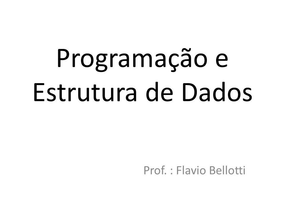 Programação e Estrutura de Dados Prof. : Flavio Bellotti