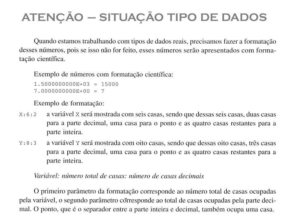 ATENÇÃO – SITUAÇÃO TIPO DE DADOS