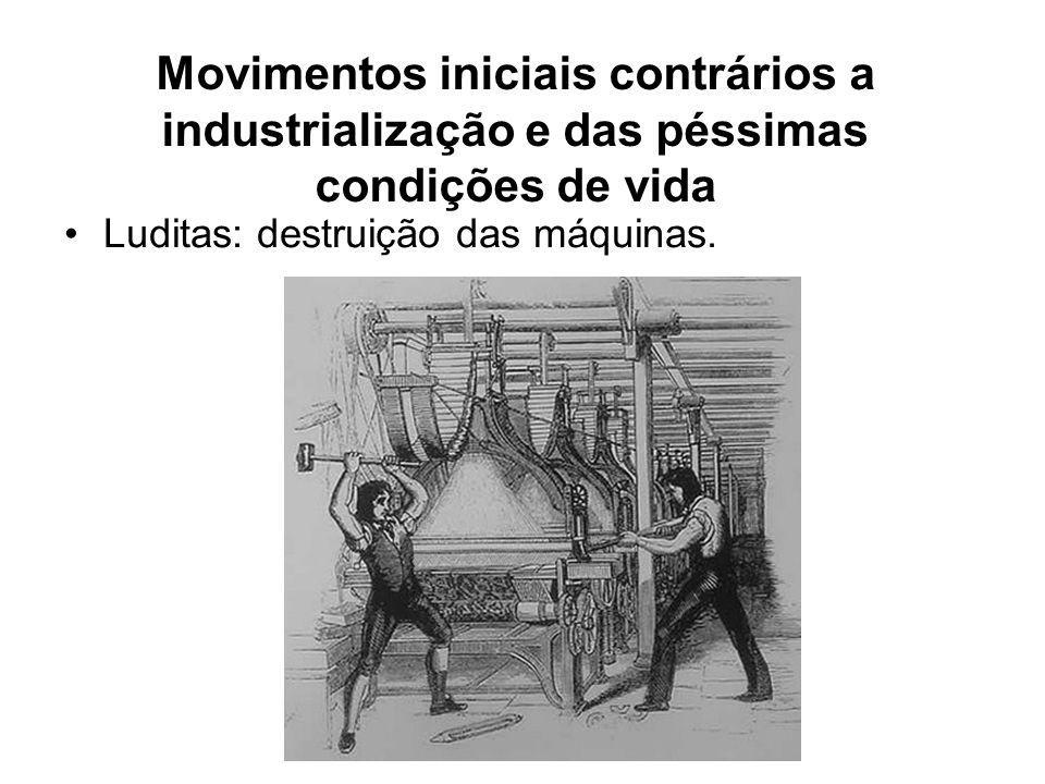 Movimentos iniciais contrários a industrialização e das péssimas condições de vida •Luditas: destruição das máquinas.
