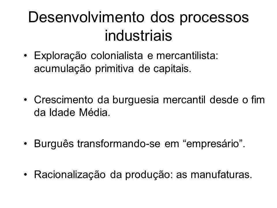 Desenvolvimento dos processos industriais •Exploração colonialista e mercantilista: acumulação primitiva de capitais. •Crescimento da burguesia mercan