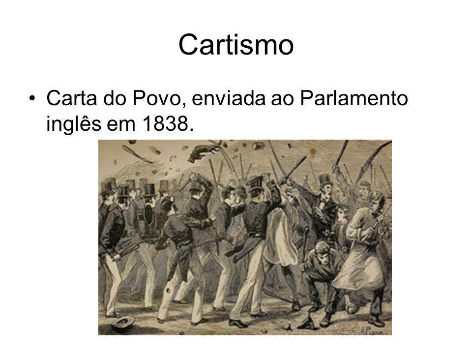 •Carta do Povo, enviada ao Parlamento inglês em 1838. Cartismo