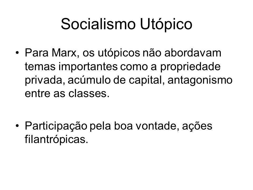 Socialismo Utópico •Para Marx, os utópicos não abordavam temas importantes como a propriedade privada, acúmulo de capital, antagonismo entre as classe