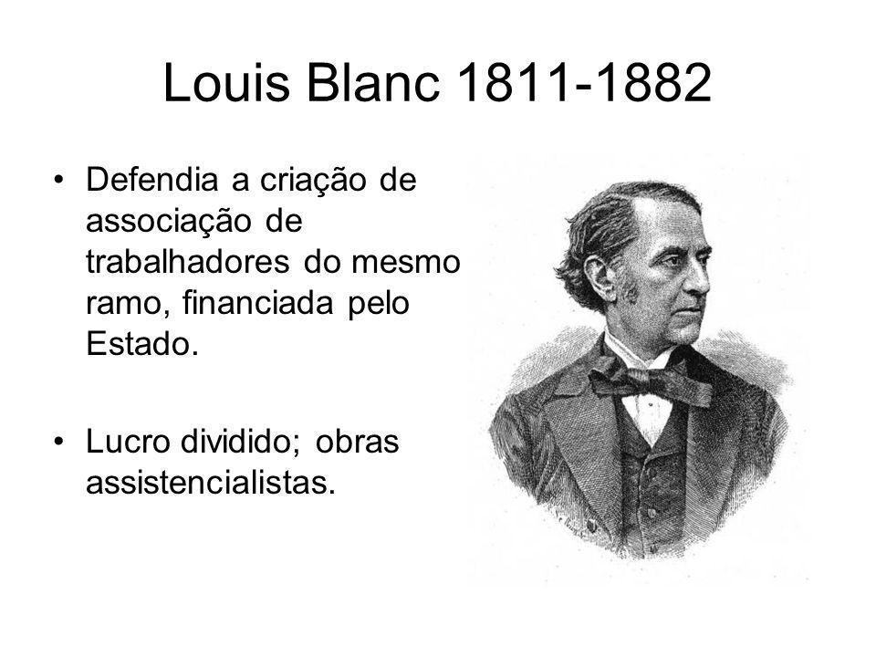 Louis Blanc 1811-1882 •Defendia a criação de associação de trabalhadores do mesmo ramo, financiada pelo Estado. •Lucro dividido; obras assistencialist