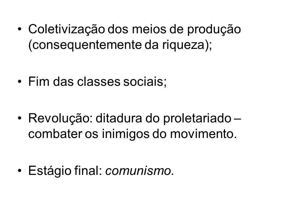 •Coletivização dos meios de produção (consequentemente da riqueza); •Fim das classes sociais; •Revolução: ditadura do proletariado – combater os inimi