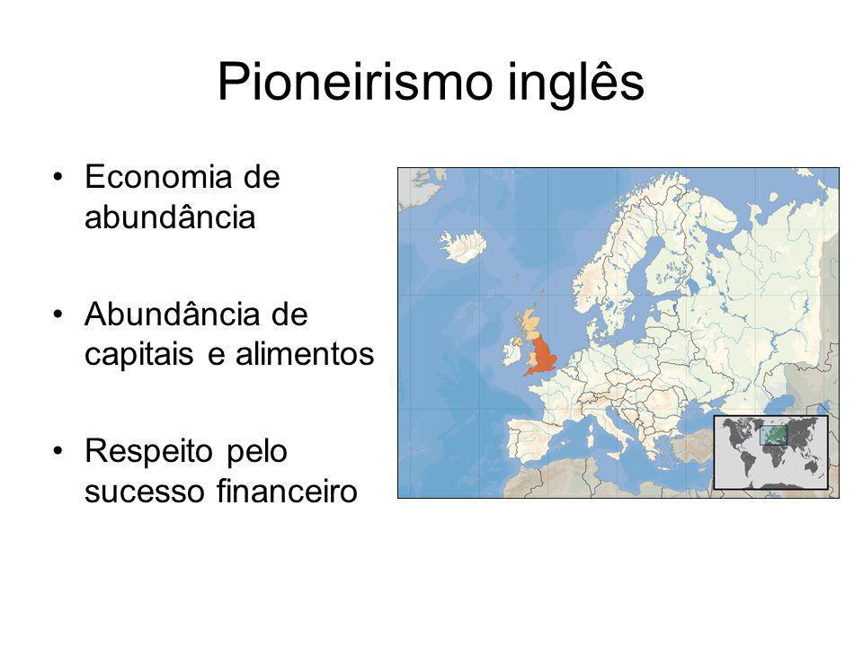 Pioneirismo inglês •Economia de abundância •Abundância de capitais e alimentos •Respeito pelo sucesso financeiro