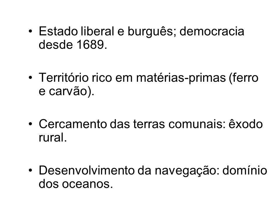 •Estado liberal e burguês; democracia desde 1689. •Território rico em matérias-primas (ferro e carvão). •Cercamento das terras comunais: êxodo rural.