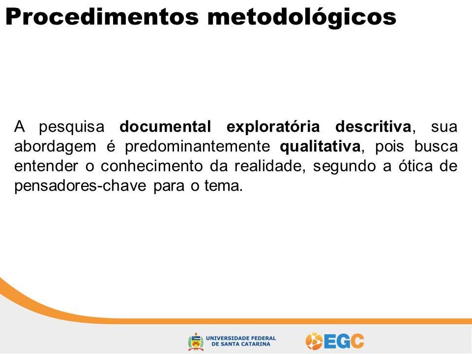 Procedimentos metodológicos A pesquisa documental exploratória descritiva, sua abordagem é predominantemente qualitativa, pois busca entender o conhec