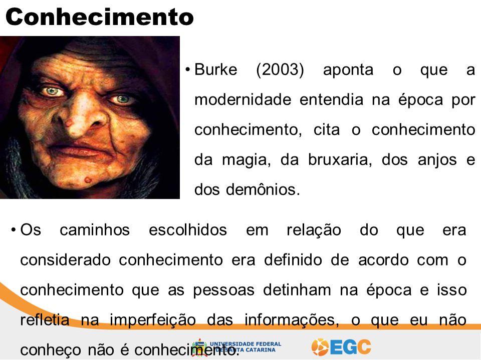 Conhecimento •Burke (2003) aponta o que a modernidade entendia na época por conhecimento, cita o conhecimento da magia, da bruxaria, dos anjos e dos d