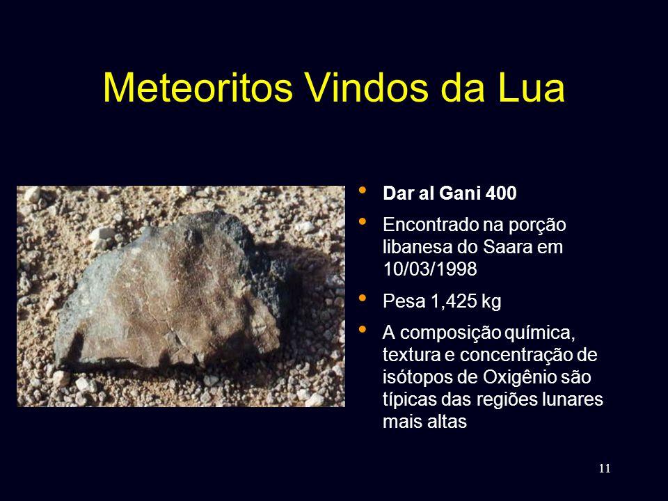 11 Meteoritos Vindos da Lua • Dar al Gani 400 • Encontrado na porção libanesa do Saara em 10/03/1998 • Pesa 1,425 kg • A composição química, textura e concentração de isótopos de Oxigênio são típicas das regiões lunares mais altas