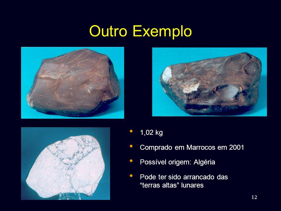12 Outro Exemplo • 1,02 kg • Comprado em Marrocos em 2001 • Possível origem: Algéria • Pode ter sido arrancado das terras altas lunares