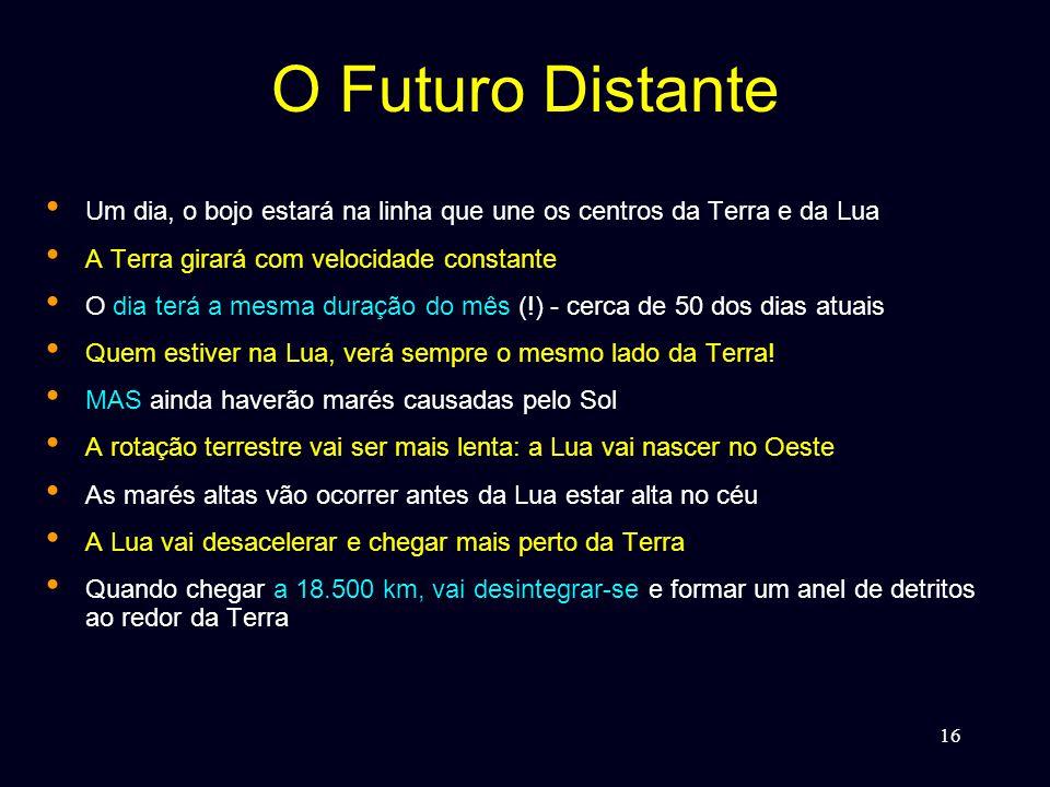 16 O Futuro Distante • Um dia, o bojo estará na linha que une os centros da Terra e da Lua • A Terra girará com velocidade constante • O dia terá a mesma duração do mês (!) - cerca de 50 dos dias atuais • Quem estiver na Lua, verá sempre o mesmo lado da Terra.