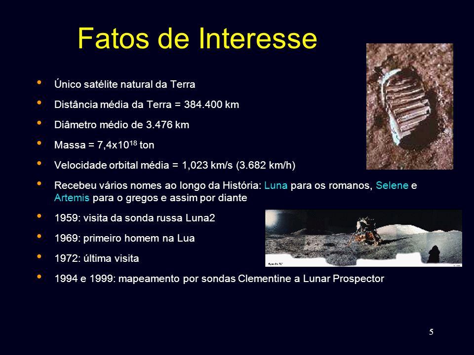 5 Fatos de Interesse • Único satélite natural da Terra • Distância média da Terra = 384.400 km • Diâmetro médio de 3.476 km • Massa = 7,4x10 18 ton • Velocidade orbital média = 1,023 km/s (3.682 km/h) • Recebeu vários nomes ao longo da História: Luna para os romanos, Selene e Artemis para o gregos e assim por diante • 1959: visita da sonda russa Luna2 • 1969: primeiro homem na Lua • 1972: última visita • 1994 e 1999: mapeamento por sondas Clementine a Lunar Prospector