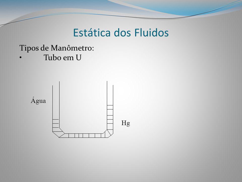 Estática dos Fluidos Tipos de Manômetro: •Tubo em U Hg Água