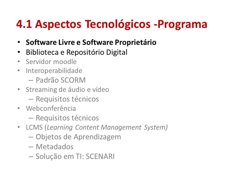 4.1 Aspectos Tecnológicos -Programa • Software Livre e Software Proprietário • Biblioteca e Repositório Digital • Servidor moodle • Interoperabilidade