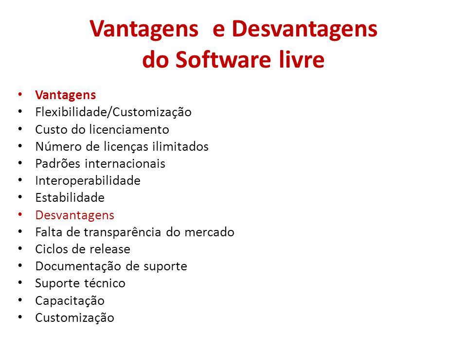 Vantagens e Desvantagens do Software livre • Vantagens • Flexibilidade/Customização • Custo do licenciamento • Número de licenças ilimitados • Padrões