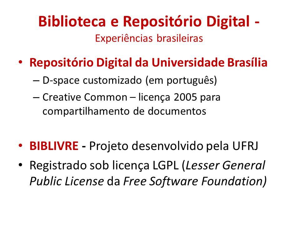 Biblioteca e Repositório Digital - Experiências brasileiras • Repositório Digital da Universidade Brasília – D-space customizado (em português) – Crea