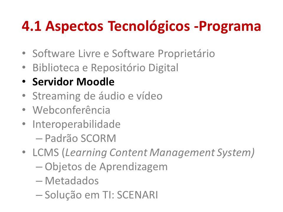 4.1 Aspectos Tecnológicos -Programa • Software Livre e Software Proprietário • Biblioteca e Repositório Digital • Servidor Moodle • Streaming de áudio