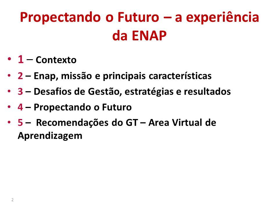 Propectando o Futuro – a experiência da ENAP • 1 – Contexto • 2 – Enap, missão e principais características • 3 – Desafios de Gestão, estratégias e re