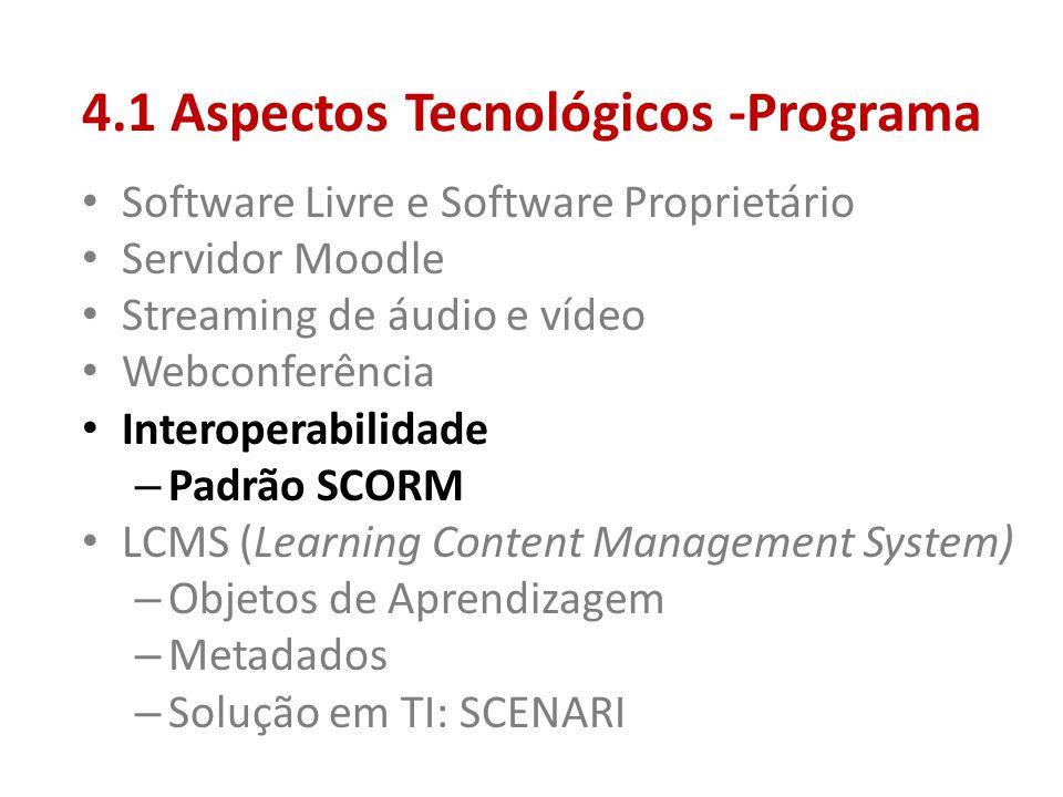 4.1 Aspectos Tecnológicos -Programa • Software Livre e Software Proprietário • Servidor Moodle • Streaming de áudio e vídeo • Webconferência • Interop