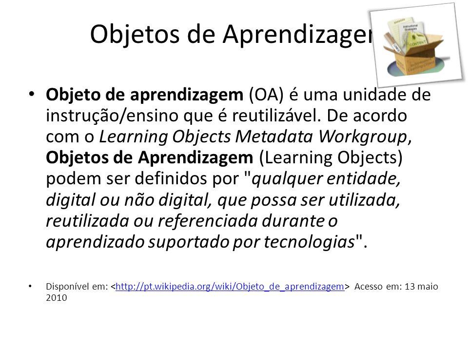 Objetos de Aprendizagem • Objeto de aprendizagem (OA) é uma unidade de instrução/ensino que é reutilizável. De acordo com o Learning Objects Metadata