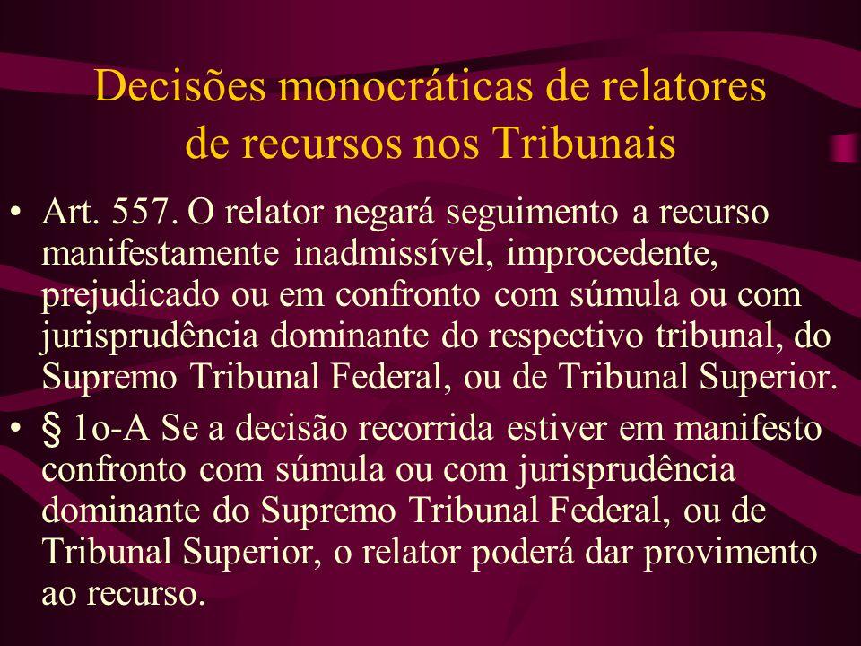 Decisões monocráticas de relatores de recursos nos Tribunais •Art.
