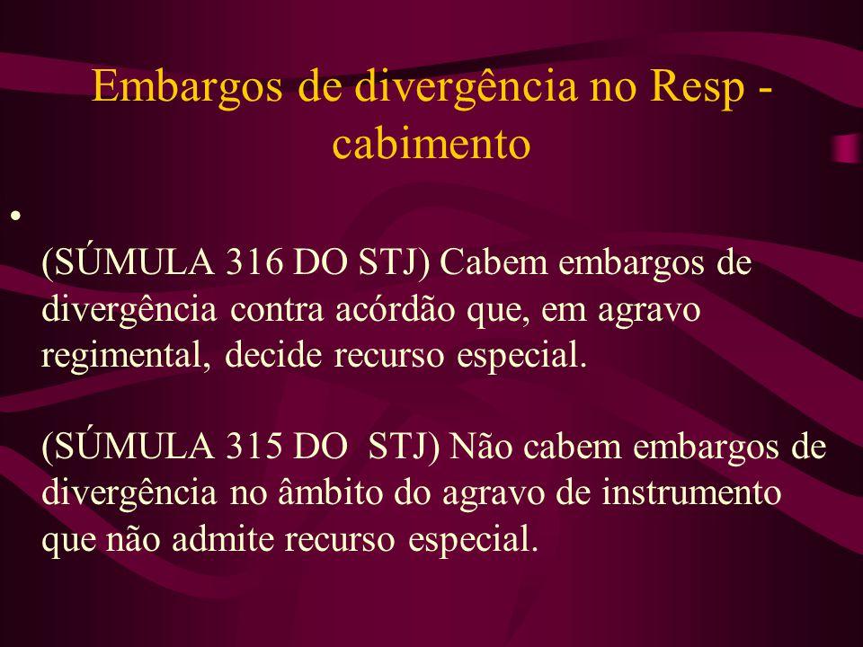 Embargos de divergência no Resp - cabimento • (SÚMULA 316 DO STJ) Cabem embargos de divergência contra acórdão que, em agravo regimental, decide recurso especial.