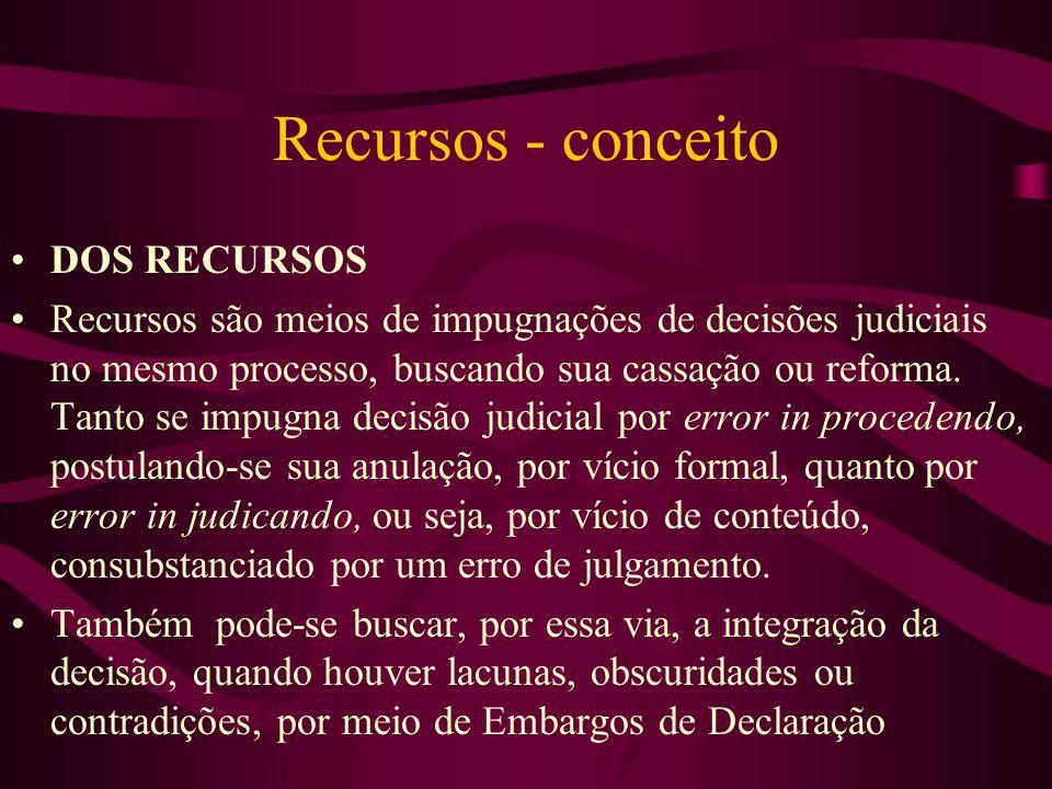 Recursos - conceito •DOS RECURSOS •Recursos são meios de impugnações de decisões judiciais no mesmo processo, buscando sua cassação ou reforma.