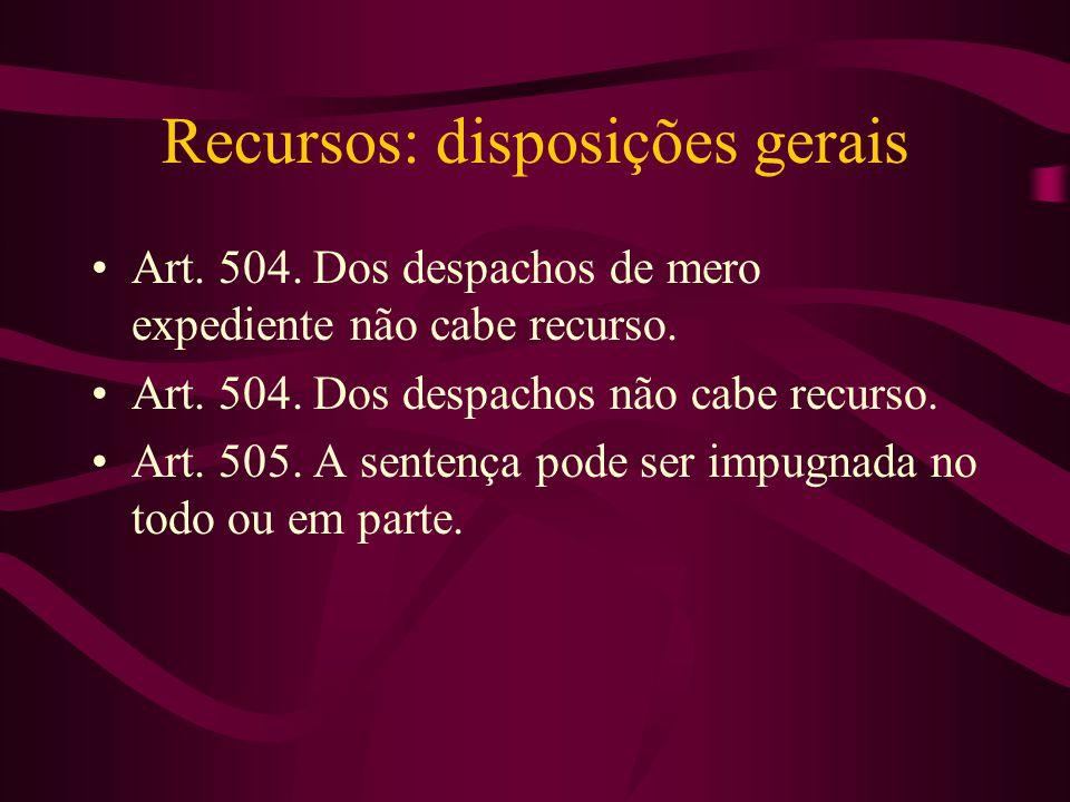 Recursos: disposições gerais •Art.504. Dos despachos de mero expediente não cabe recurso.