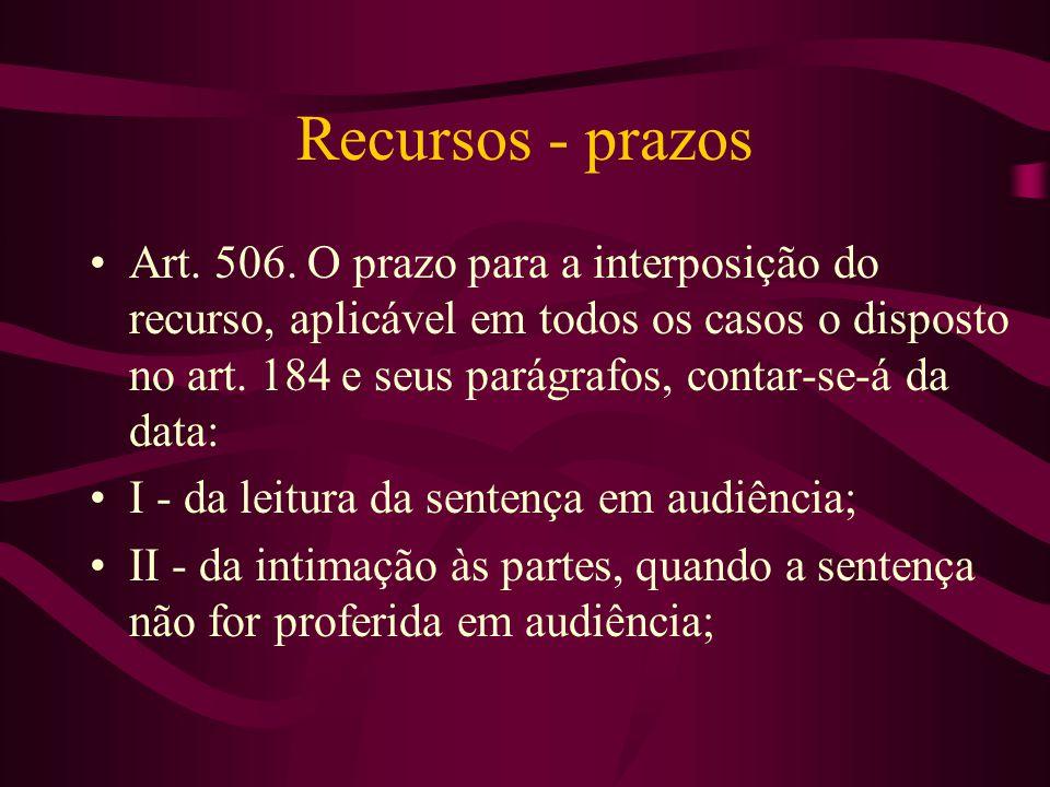 Recursos - prazos •Art.506.