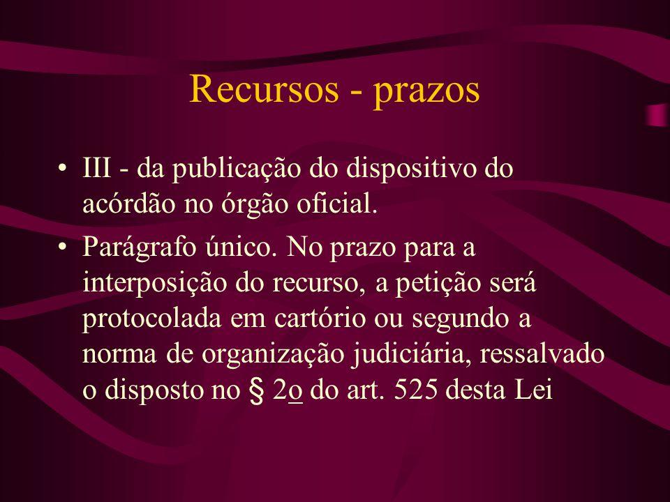 Recursos - prazos •III - da publicação do dispositivo do acórdão no órgão oficial.
