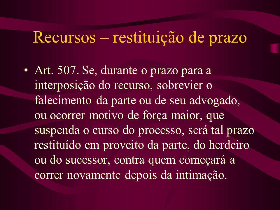Recursos – restituição de prazo •Art.507.