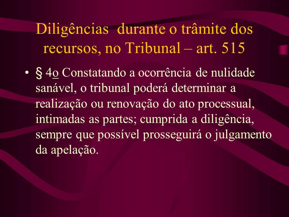 Diligências durante o trâmite dos recursos, no Tribunal – art.
