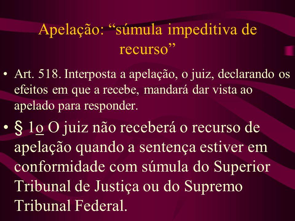 Apelação: súmula impeditiva de recurso •Art.518.