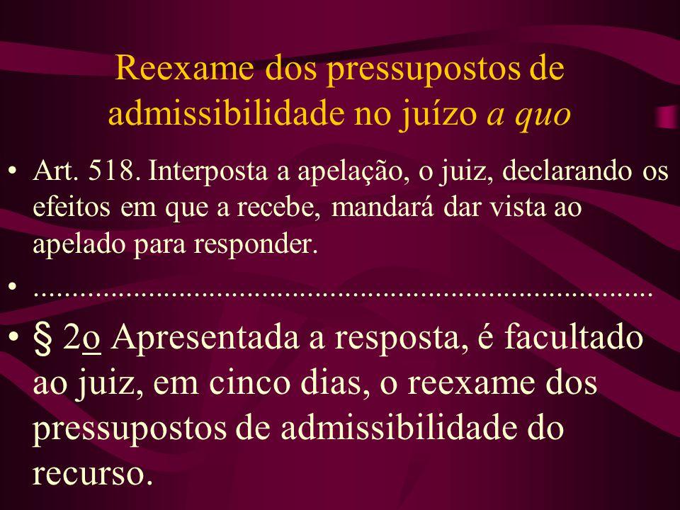 Reexame dos pressupostos de admissibilidade no juízo a quo •Art.