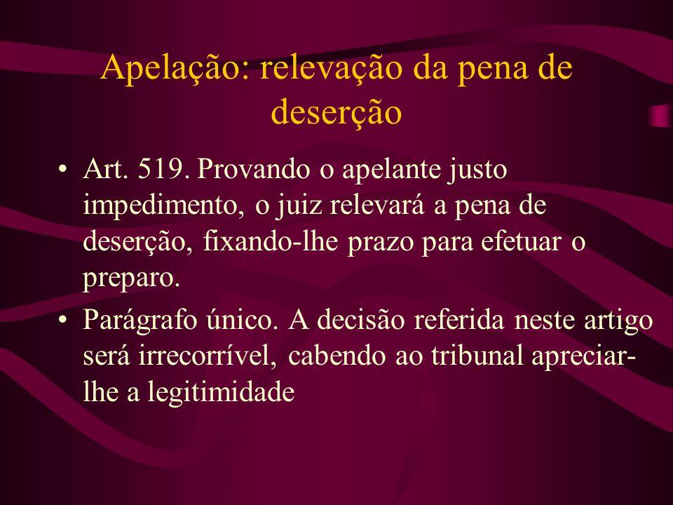 Apelação: relevação da pena de deserção •Art.519.