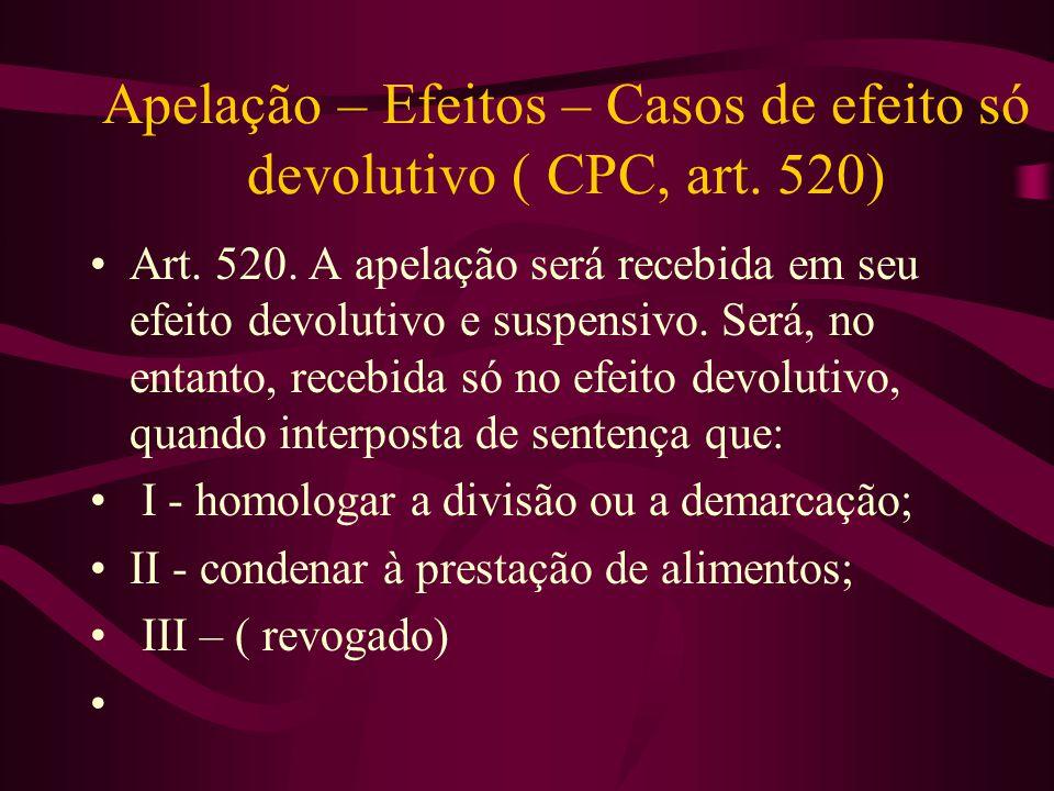 Apelação – Efeitos – Casos de efeito só devolutivo ( CPC, art.