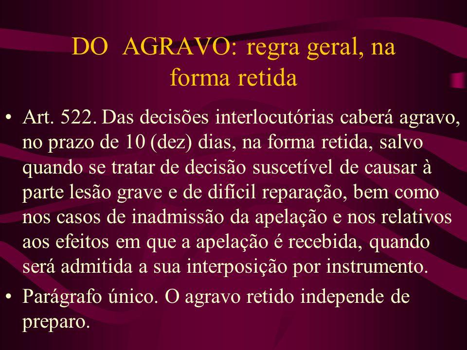 DO AGRAVO: regra geral, na forma retida •Art.522.