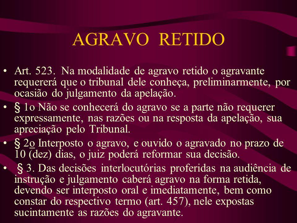 AGRAVO RETIDO •Art.523.