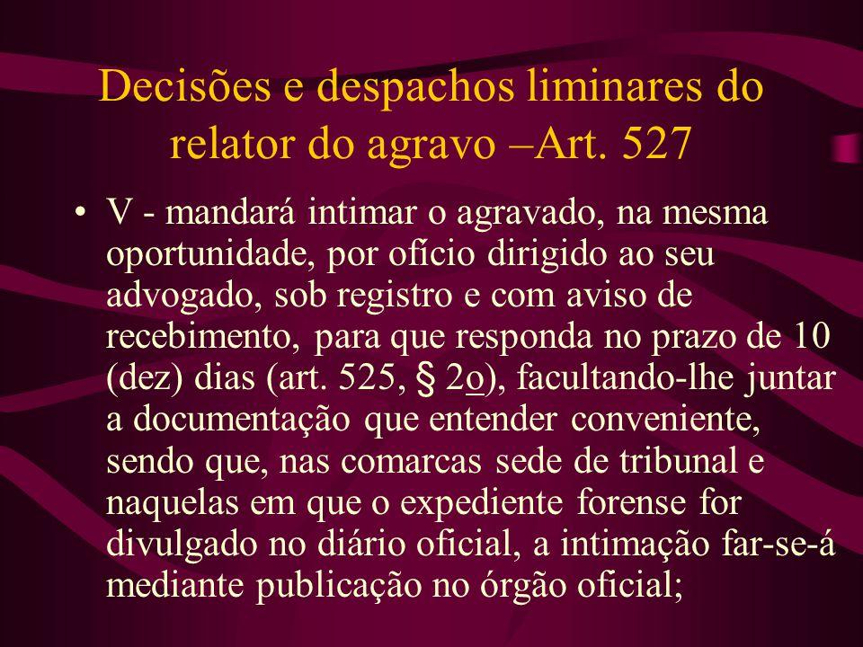 Decisões e despachos liminares do relator do agravo –Art.