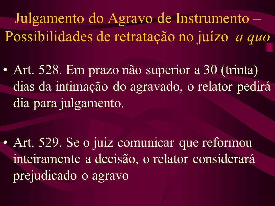 Julgamento do Agravo de Instrumento – Possibilidades de retratação no juízo a quo •Art.