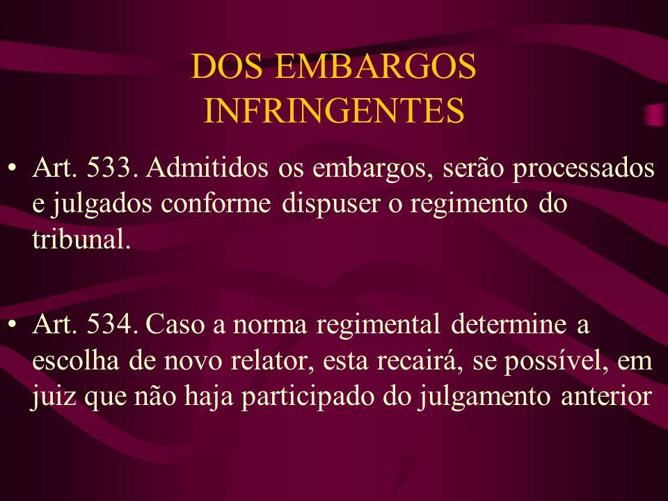 DOS EMBARGOS INFRINGENTES •Art.533.