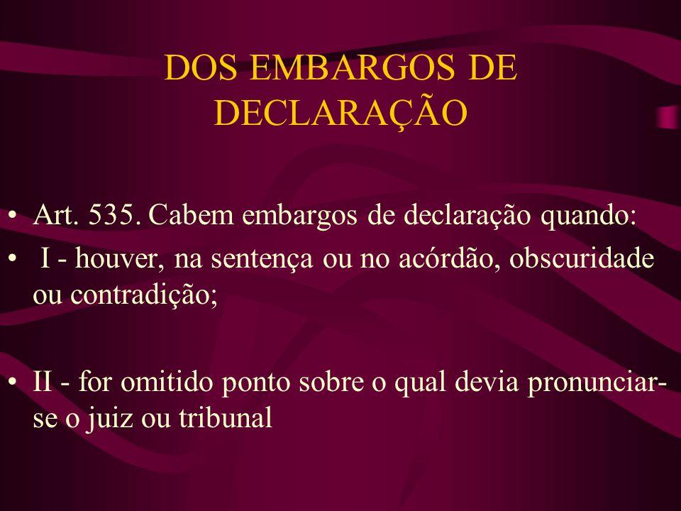 DOS EMBARGOS DE DECLARAÇÃO •Art.535.
