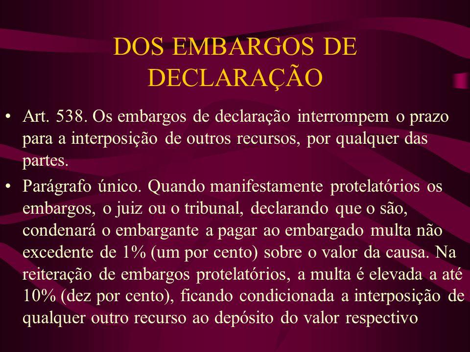DOS EMBARGOS DE DECLARAÇÃO •Art.538.