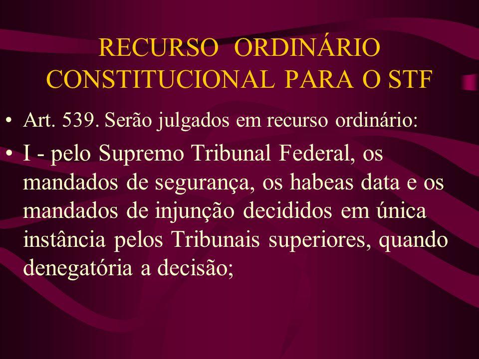 RECURSO ORDINÁRIO CONSTITUCIONAL PARA O STF •Art.539.