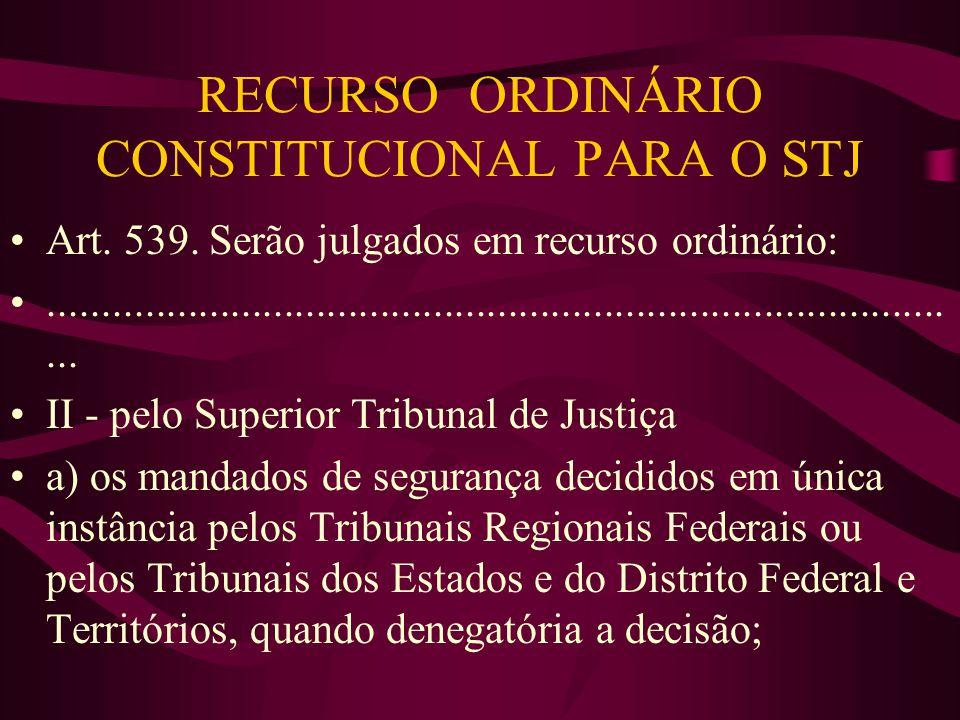 RECURSO ORDINÁRIO CONSTITUCIONAL PARA O STJ •Art.539.