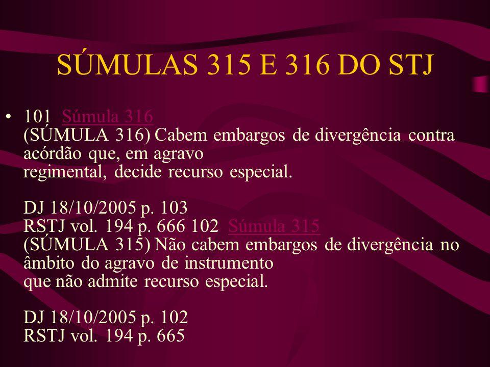 SÚMULAS 315 E 316 DO STJ •101 Súmula 316 (SÚMULA 316) Cabem embargos de divergência contra acórdão que, em agravo regimental, decide recurso especial.
