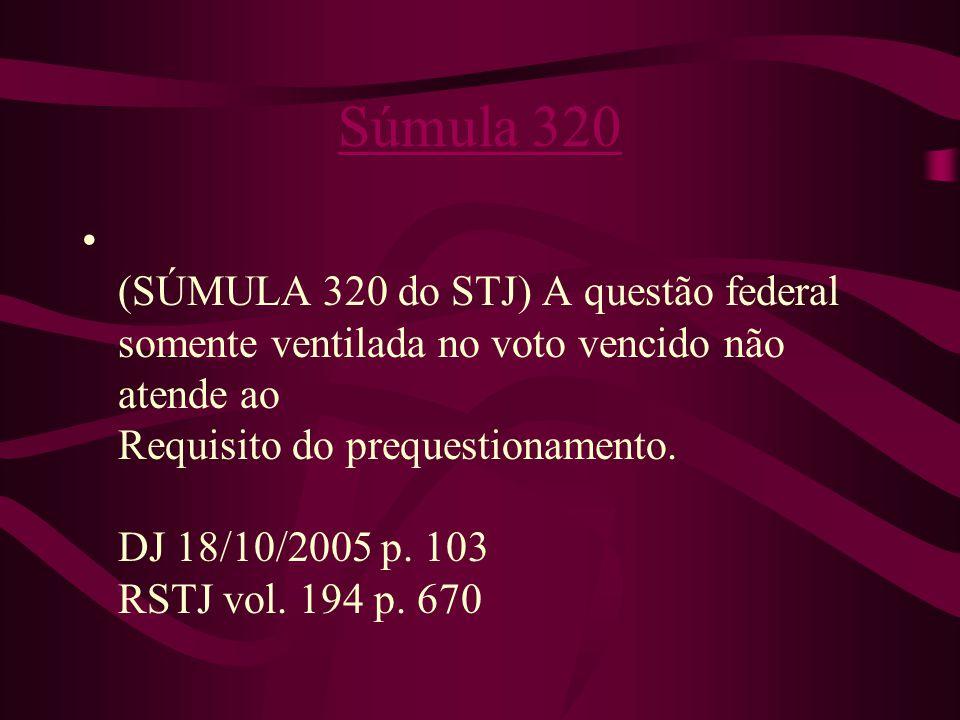 Súmula 320 • (SÚMULA 320 do STJ) A questão federal somente ventilada no voto vencido não atende ao Requisito do prequestionamento.