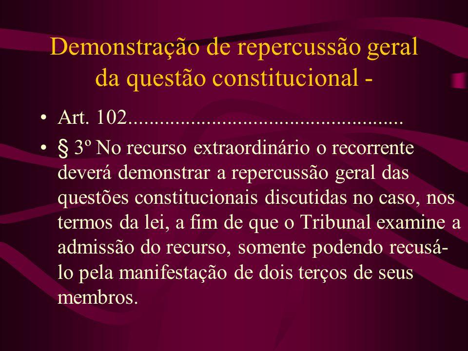 Demonstração de repercussão geral da questão constitucional - •Art.