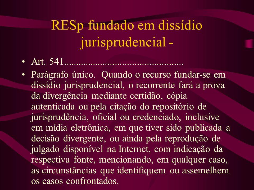 RESp fundado em dissídio jurisprudencial - •Art.